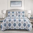 2/3 Piece Bed Quilt Coverlet Set Twin Full/Queen King with Sham Navy Blue Spring image