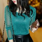 Women Fashion T-Shirts Shiny Mesh Party Blouses t Shirt Ladies Tops Plus Size