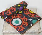 Indian Handmade Twin Vintage Cotton Bed Cover-Kantha-Blanket-Quilt-Throw