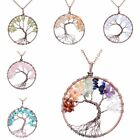 Jewelry Healing Tree Of Life Necklace Natural Stone Pendant Alloy Chain Crystal