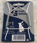 "JES Co England White Plastic Covered Wire Plate Hanger Diff Sizes 3.5"" up to 16"""