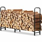 Log Rack For Outdoors Fireplace Heavy Duty & Durable Firewood Pile Storage Black