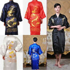 Chinese Style Men's Bathrobe Kimono Robe Gown Silk Embroidery Dragon Sleepwear