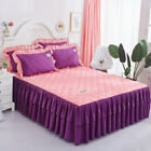 Plain Brushed Thick Bed Skirts Quilted Bedspreads Full Queen King Pillow Cases image