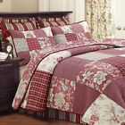 Stockwood Red Real Patchwork 100%Cotton 3-Piece Quilt Set, Bedspread, Coverlet image
