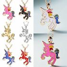 Fashion HORSE Animal Pendant Necklace Womens Girls Kid Enamel Chain Jewelry Gift image