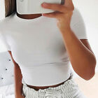 Women Summer Beach Short Sleeve Blouse T-Shirt Slim Gym Sports Crop Tank Top