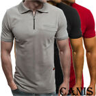 Mens Slim Zipper Fit Polo Shirts Short Sleeve Casual Muscle T-Shirt Tops Tee image