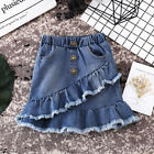 Внешний вид - Fashion Toddler Kids Girls Blue Denim Mini Skirt Short Dress Jeans Skirt 1-6T