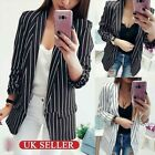 Womens Business Suits Slim Long Stripe Cardigan Blazers Coat Formal Jackets Tops