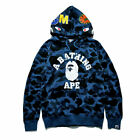 Men Bape A Bathing Ape Full Zip Shark Head Camo Hoodie Coat Sweatshirt Jacket