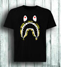 bathing ape shark Mens Black T-Shirt Tees Clothing