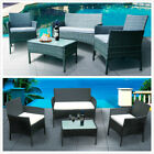 Rattan Garden Furniture 4 Seaters + Table With Cushion Outdoor Patio Sofa Sets