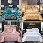 Silky Jacquard & 100%Cotton Luxury Duvet Cover Bedding Set High Quality 4pcs UPS image