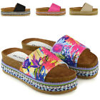 Womens Slip On Flatform Sandals Ladies Espadrille Wedge Platform Studded Shoes