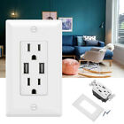 Dual USB Port Wall Outlet Charger Port Socket with 15A Electrical Receptacles
