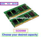 DDR3 PC3-8500S PC3-10600S PC3-12800 Memory 2GB 4GB 8GB SODIMM 204 PIN 1066 1600