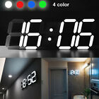 3D Modern Night Home Kitchen 24/12 Hour Display LED Digital Numbers Wall Clock
