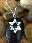 925 Solid Sterling Silver Star Of David Pendant +18