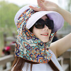 Women Boho Bohemia Anti-UV Sun Cap Neck Face Visor Wide Brim Floral Flower Hat
