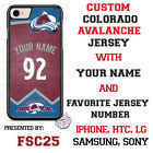 Colorado Avalanche Personalized Hockey Jersey Phone Case Cover for iPhone etc. $25.98 USD on eBay