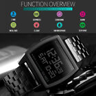 SKMEI Men's Stainless Steel Digital LED Calendar Day Countdown Alarm Sport Watch image