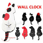 Creative Wall Clock Cat Dog Shape Wagging Tail Battery Operated Room Art