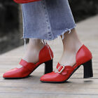 Buckle Block Heels Women's High Heels Pumps Loafers Shoes Casual Pointed Toe