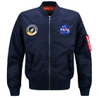 2019 Fanshion US MENS JACKET EMBROIDERED NASA MILITARY ARMY FLIGHT BOMBER JACKET for sale  Shipping to Canada