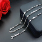 Women Man 316L Stainless Steel 2mm/3mm/4mm/5mm Silver Cut Rolo  Chain Necklace