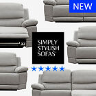 CASSINI Modern Taupe Grey Fabric Recliner Sofas 3 + 2 Seaters + Armchairs