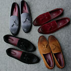Men Loafers Suede Leather Shoes Casual Slippers Flats Tassel Driving Slip On HOT