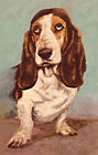Adorable Basset Hound Reproduction Fabric Crazy Quilt Block Free Shipping World