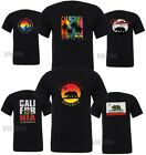 Funny California Republic Moon Bear Surf Club Dreaming  Los Angeles black Tee