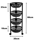 3/4 Tier Plastic Fruit & Vegetable Trolley Round Storage Rack On Wheel Stackable