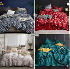 Washed Silk Soft Duvet Cover Bedding Set Flat Fitted Sheet High Quality 4pcs UPS image