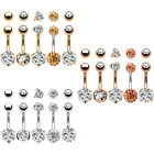BodyJ4You 5PC Navel Rings 14G Stainless Steel CZ with 5 Replacement Balls Pack image