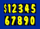 """Car Dealer 7.5"""" windshield pricing stickers numbers Black, Yellow, Chartreuse"""