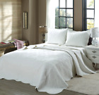 Mael White Scalloped Edge Reversible Cotton Quilt Set, Bedspreads, Coverlet image