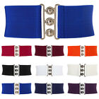 Womens Elastic Stretch Wide Band Waspie Corset Waist Belt Metal Hook Underbust