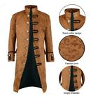 Renaissance Men's Brown  Brocade Goth Steampunk Victorian Velvet Frock Coat/USA