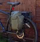 Army pannier bags olive green fully waterproof rubberized military bike vintage