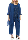 NWT LE BOS BLUE EMBELLISHED PANTS SUITE SIZE 18 W 20 W 22 W WOMEN 140