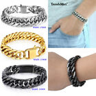 """15mm Mens 316L Stainless Steel Silver Tone Curb Cuban Link Chain Bracelet 7-11"""" image"""