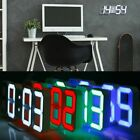 Modern Digital USB 3D LED Wall Clock Alarm Clock Snooze 12/24 Hour Large Display