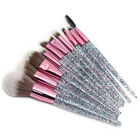 10Pcs Glitter Kabuki Makeup Brushes Set Foundation Blush Powder Eyebrow Brush US