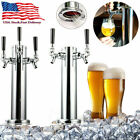 "3"" Stainless Steel Draft Beer Kegerator Tower 2/3 Tap Chrome Faucet Homebrew Bar"