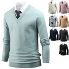 New Mens Stylish Simple Solid V Neck Sweater Knit T-Shirts Jumper Tops T017 S-XL