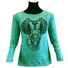 Quality ELEPHANT Ladies Womens Long Sleeve Crinkle Fabric T Shirt in Mint Green