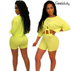 Women Summer 2 Piece Set Crop Top and Shorts Bodycon Outfit Short Sport Jumpsuit